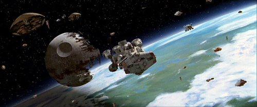 Batalla de Endor. Varios Ala-A descendiendo para maniobrar en órbita junto a las fragatas corellianas rebeldes.
