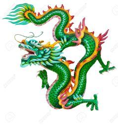 10748083-Green-dragon-aislada-sobre-fondo-blanco--Foto-de-archivo